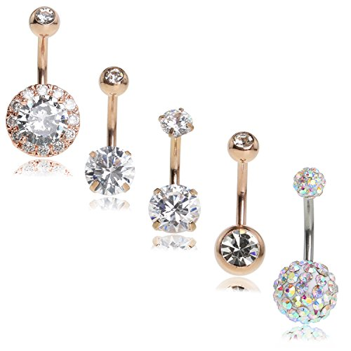 SkullParty 5PCS 14 Gauge Belly Button Rings Stainless Steel Cute Round CZ Ring Navel Rings Piercing Bars for Women Girls Summer Piercing - Rose (Belly Button Ring Gauge)