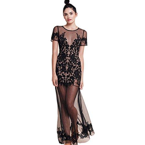 TATGB Women's Print O Neck Short Sleeve Bodycon Evening Party Short Mini Dress - Black Mini Dot