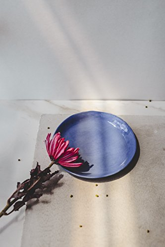 Modern pottery blue porcelain small plate for a serving of salad, dessert, cheese or fruits by SinD studio -
