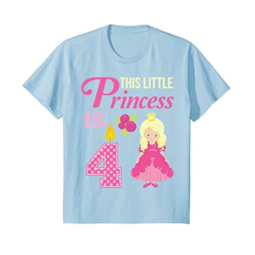 Kids Princess Birthday Shirt 4 Year Old For 4th Party