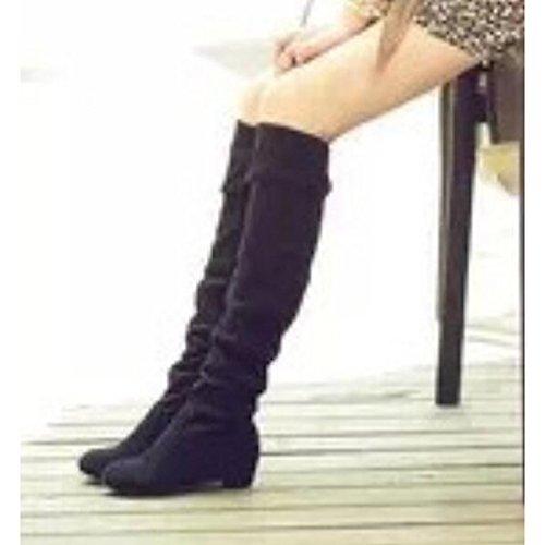 botas altas Zapatos marrón el de Mujer Blue rodilla Casual botas negro botas nubuck Invierno azul para puntera cuero perezoso HSXZ talón redonda bajo de de Otoño vAqSHHd