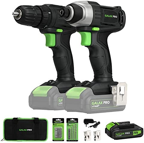 20V Max 2 speeds Drill Driver and Impact Driver Combo Kit, GALAX PRO Cordless Drill Driver Impact Driver with 1pcs 1.3Ah Lithium-Ion Batteries, Charger Kit, 11pcs Accessories and Tool Bag