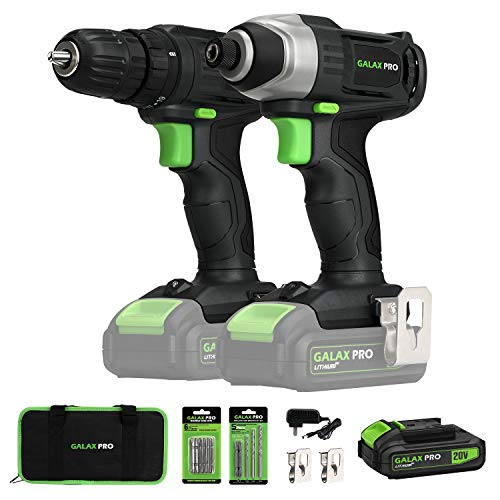20V Max 2 speeds Drill Driver and Impact Driver Combo Kit, GALAX PRO Cordless Drill Driver/Impact Driver with 1pcs 1.3Ah Lithium-Ion Batteries, Charger Kit, 11pcs Accessories and Tool Bag