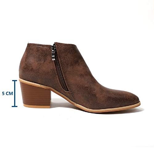 5cm Heel Ladies Casual Block Women 43 Blue Brown Winter Beige 35 Leather Ankle Boots Comfortable Lace Flat Chunky Heeled Grey Low Black Shoes Chelsea qtAw66