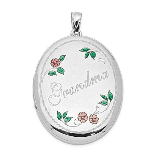 Grandma Word With Enamel Flowers On Oval Pendant Locket In 925 Sterling Silver 34x28mm
