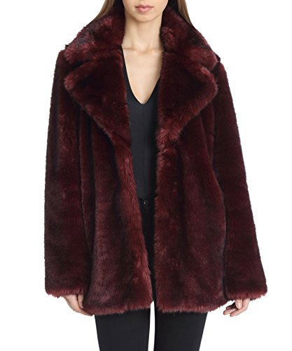 Coat Length Fur Mid - Avec Les Filles Women's Faux Fur Mid Length Coat with Notch Collars, Burgundy, Medium