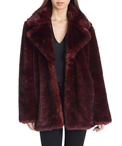 Avec Les Filles Women's Faux Fur Mid Length Coat with Notch Collars, Burgundy, Medium