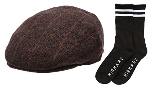 Cotton Lined Ivy Cap - Men's Winter Collection Wool Plaid Flat Newsboy Ivy Hat with MIRMARU Socks.(2365,Coffee,M)