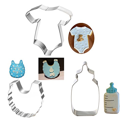 ZHOUBA - Juego de 3 moldes para repostería de galletas para tartas o galletas, diseño de baby shower, acero inoxidable, plata, talla única: Amazon.es: Hogar