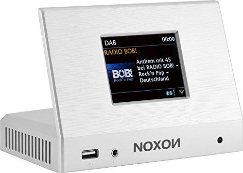 Noxon 17400 A110 Plus Internet Radio für HiFi Systeme (8,13cm (3,2 Zoll) TFT Farb Display, WLAN/LAN, DAB/DAB Plus,UKW, Bluetooth, Fernbedienung, USB) silber