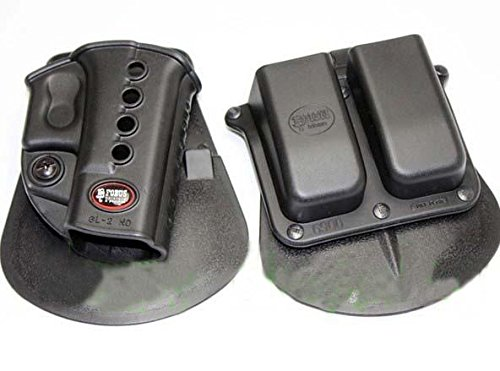 Glock 27 Paddle Holster (Fobus Evolution Paddle Holster for Glock 17 19 22 23 27 31 32 34 35 + Fobus Double Magazine Paddle Pouch for Glock Glock 17 19 22 23 27 31 32 34 35 - GL2ND 6900 + Best Security Gear Magnet)