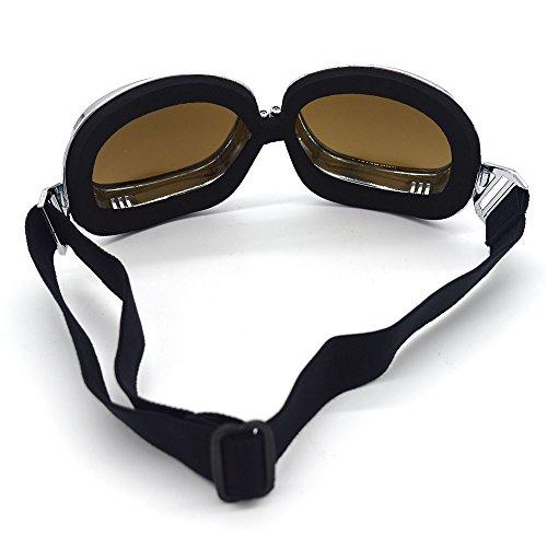 Evomosa Motorcycle Goggles Vintage Pilot Goggles Retro Motocross Goggle Outdoor Eyewear Sports Glasses for Half Helmet