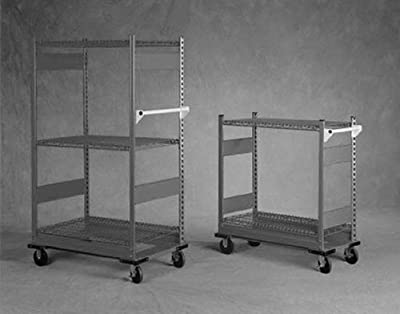 "Equipto 4573D V-Grip 2-Shelf Wire Shelving Cart with Heavy Duty Casters, 18 Gauge Steel, 800 lbs Capacity, 36"" W x 42"" H x 18"" D, Smooth Office Gray"