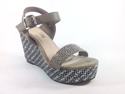 Sandalias con zapatos de mujer en zeppa nabuk YQ09 verde caqui