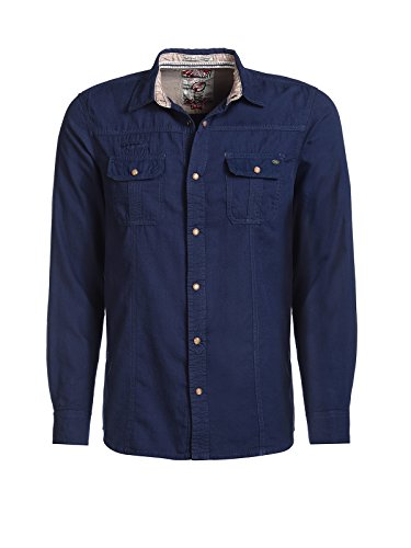 Tokyo Laundry Men Herren Jeanshemd Gallagher dunkelblau XL