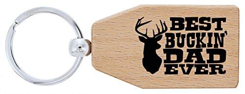 ThisWear Deer Hunting Gifts Best Buckin Dad Ever Wood Keychain Key Tag Dad