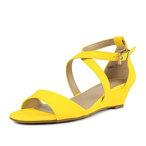 Sandals Dress Yellow (DREAM PAIRS Women's Jones Yellow Nubuck Low Wedge Pump Sandals Size 8.5 M US)