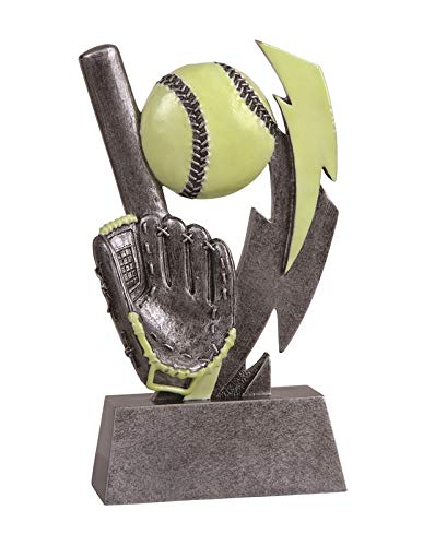 Express Medals 6 inch Glow in The Dark Girls Softball Trophy Award with Engraved Personalized Plate -605 (1-Pack)