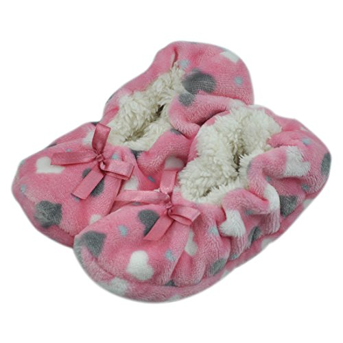 Women's Festive Warm Fuzzy Anti-Slip Indoor House Bedroom Slipper Socks Christmas Stocking House Pink Heart Medium