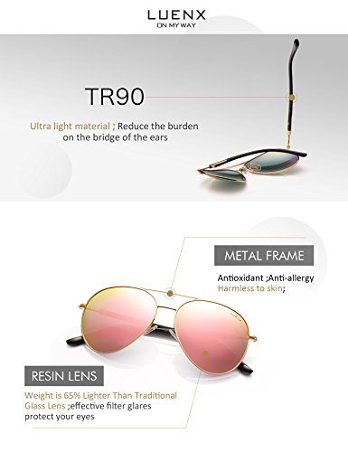 605184d5b ... Womens Sunglasses Aviator Polarized Pink Mirror by LUENX - UV 400  Protection Gold Frame 60mm ...