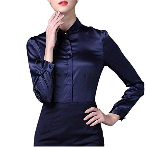 Satin Silk Blouse (Women Satin Silk Shirt Peter Pan Collar Long Sleeve Button-Down Formal Work Silky Blouse Tops)