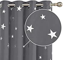Deconovo Blackout Eyelet Curtains Thermal Insulated Energy Saving Star Foil Printed Curtains for Kids Bedroom