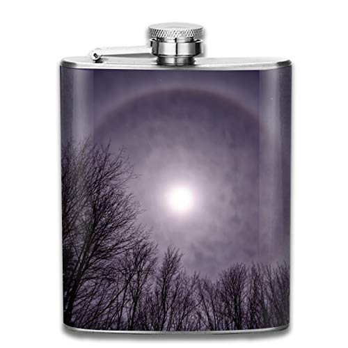 Kettle Halo (Forest Sun Purple Halo Fashion Portable Stainless Steel Hip Flask Whiskey Bottle for Men and Women 7 Oz)