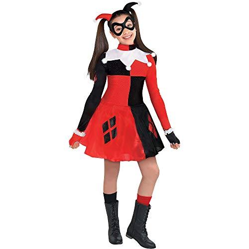 Costumes USA Batman Harley Quinn Costume for Girls, Size Medium, Includes a Dress, Headband, Mask, and Fingerless Gloves