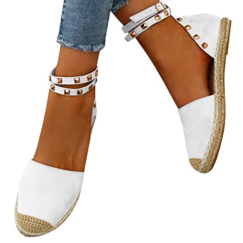 Women's Flat Espadrilles Cute Ankle Strap D Orsay Cutout Pointed Toe Flats Summer (Sexy Espadrille)