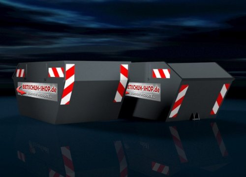 141 mm x 705 mm Orafol Container Warnmarkierung mikroprismatisch 2 x links, 2 x rechts 4 Streifen selbstklebend