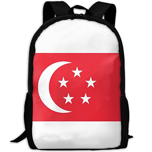 WEN7Q Flag Of Singapore Backpack College School Book Bag Daypack Travel Sports Shoulder Bag For - Sports Singapore Apparel