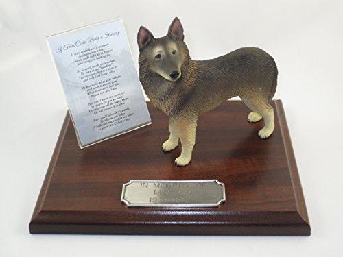 Beautiful Walnut Finished Personalized Memorial Plaque With Belgian Tervuren Figurine Belgian Tervuren Dog Figurine