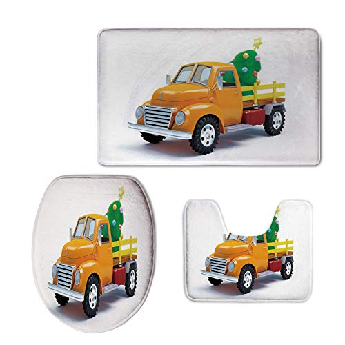 Tree Decorated Ultimate (iPrint 3 Piece Shower Mat Set,Christmas,Yellow Vintage Truck Decorated Tree Star Topper Old Farm Motor,White Yellow Green,Customized Rug Set)