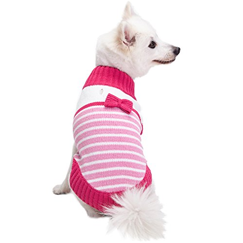 Blueberry Pet 2019 New 4 Patterns Pinky Princess Designer Chenille Dog Sweater with Bow Decor, Back Length 14