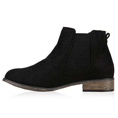 Stiefelparadies Modische Damen Stiefeletten Chelsea Boots Prints Schuhe Bequem Übergrößen Gr. 36-42 Zipper Wildleder-Optik Flandell Schwarz Velour