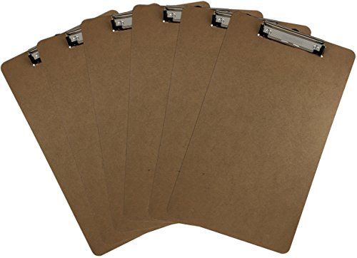 Trade Quest Legal Size Clipboard 9'' x 15.5'' Low Profile Clip Hardboard Single (Pack of 6)