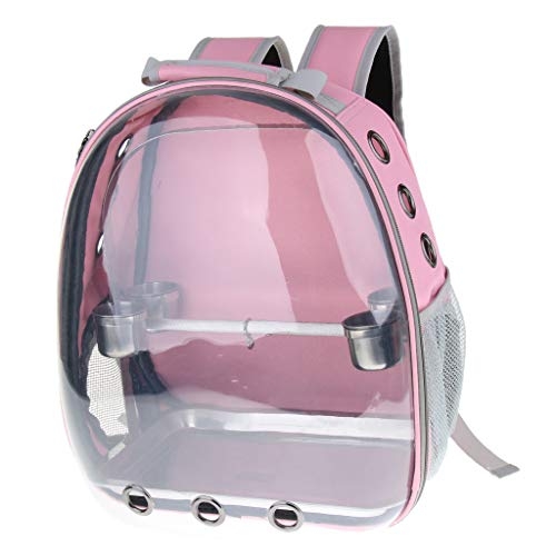 LOVIVER Pet Parrot Carrier Bird Travel Bag Space Capsule Transparent Backpack Breathable 360° Sightseeing with Cup Tray - Pink