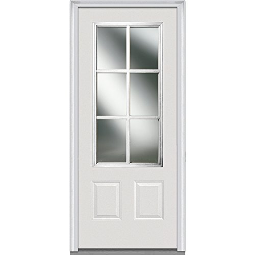 National Door Company Z000848R In-Swing Entry Door, Prehung Right Hand, Classic Clear Glass with SDL, 3/4 Lite, 2-Panel, Steel, 32'' x 80'' by National Door Company