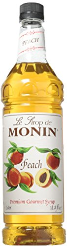 Monin Flavored Syrup, Peach, 33.8-Ounce Plastic Bottle (1 liter)