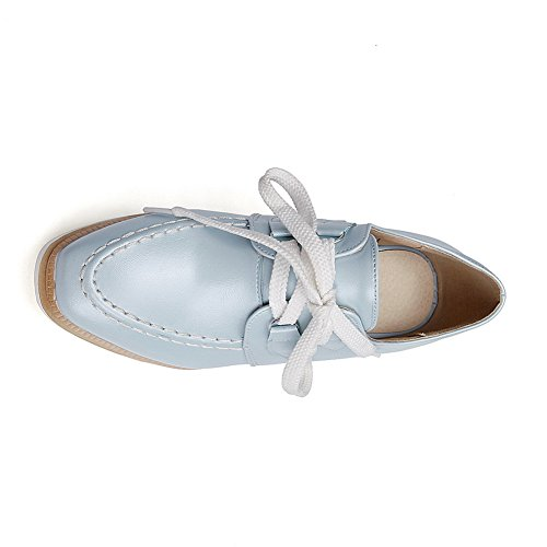 BalaMasa Girls cunei lace-up tomaia in pelle pumps-shoes, Blu (Blue), 35