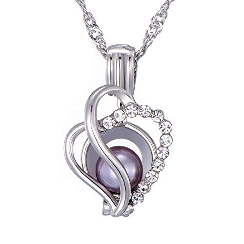 - SHUHONEY White Rhinestone Love Heart Pearl Cage Pendant Necklace for Mom/Lover with Freshwater Pearl(1 pc)