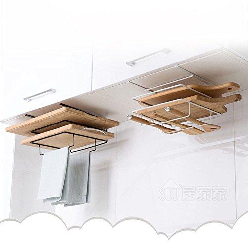 SODIAL Double Layer Iron Kitchen Cabinets Shelf Chopping Board Storage Rack Shelves Kitchen Holder Rack Free Drilling White