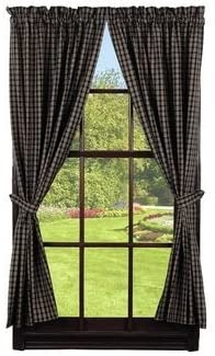 IHF Home Decor Cambridge Black Design Panel 100 Pure Cotton Fabric / Window Treatment Curtain / 72 x 63 Inches Panels