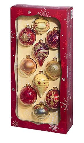 (10-Piece Set Elegant Oversized Red & Gold, Holiday Glass Ornaments, Glitter, Beads and Gems Designs Features with Hanging Ribbon Loops in Reusable Box Package by Kirkland Signature)