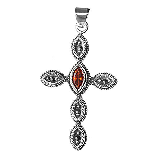 Cross Pendant Simulated Garnet Simulated Marcasite .925 Sterling Silver Charm - Silver Jewelry Accessories Key Chain Bracelet Necklace ()