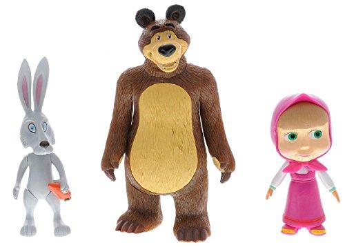 Girl Bear Figurine - Funny Set For Boys and Girls Masha and the Bear Rabbit Bunny. Plastic Toys For a Bath. Masha y el Oso