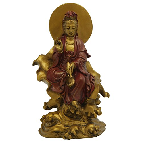 - Kuan Yin on Leaf Statue, 8 Inches, Gold and Red Finish