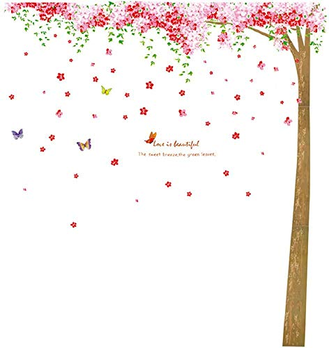- LiveGallery Giant Removable Pink Red Cherry Blossom Tree and Flower Butterfly Wall Decals 3D DIY Home Wall Art Decor Lettering Wall Sticker for Living Room Kids Girls Bedroom Nursery Rooms Classroom