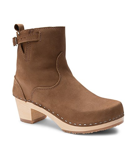 Dexter Leather Heels - Sandgrens Swedish High Heel Wooden Clog Boots for Women | New York Dexter Tan, EU 40