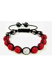Rosy Red Shamballa Bracelet | Red & White Shamballa Inspired Bracelet
